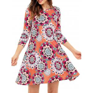 Ethnic Flare Floral Print Dress