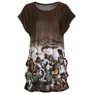 Floral Long Tunic Shift T-shirt - Brown - One Size