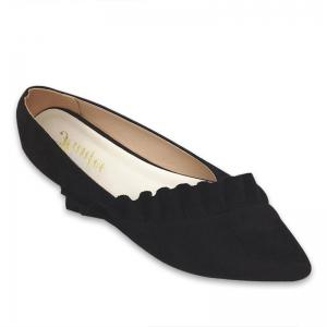 Flounce Faux Suede Point Toe Flats - Black - 39