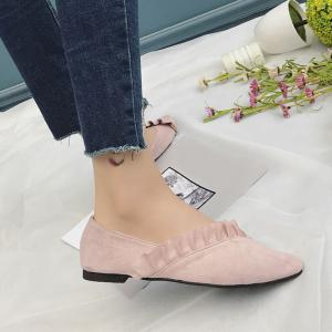 Flounce Faux Suede Point Toe Flats - PINK 39