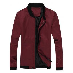 Casual Seamless Zip Up Bomber Jacket - Wine Red - Xl
