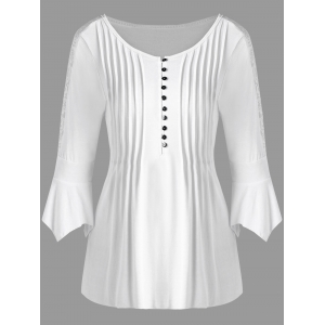Half Button Lace Trim Pleated Blouse