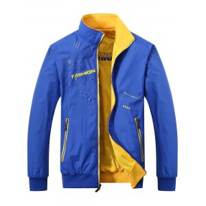Convertible Wear Zip Up Printed Track Jacket - Blue - L