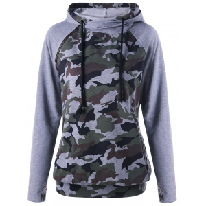 Pocket Camouflage Insert Hoodie - Blackish Green - 2xl