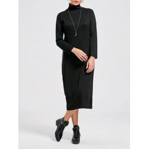 Long Sleeve High Neck Bodycon Midi Dress