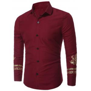 Floral Trim Long Sleeve Shirt - Wine Red - Xl