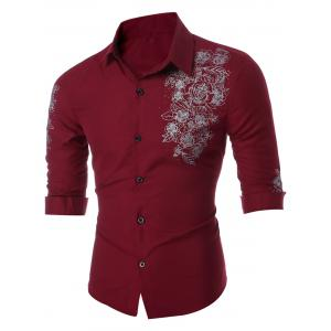 Button Floral Print Long Sleeve Shirt - Wine Red - Xl