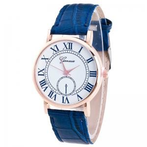 Faux Leather Strap Roman Numerals Analog Watch - Blue