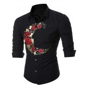 Rose Print Long Sleeve Shirt - Black - M