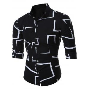 Geo-print Long Sleeve Shirt - Black - M