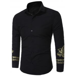 Floral Trim Long Sleeve Shirt - Black - Xl