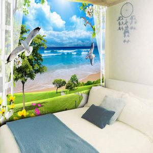 Beach Scenery Printed Wall Hanging Tapestry -