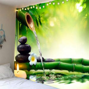 Bamboo Water Stone Print Waterproof Wall Art Tapestry