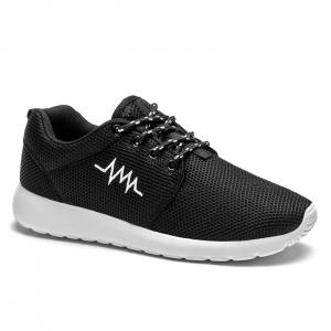 Breathable Embroidery Line Athletic Shoes - Black White - 38