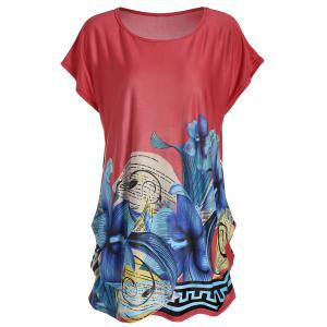 Casual Printed Long Tunic T-shirt - Watermelon Red - One Size