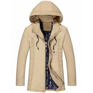 Zip Up Drawstring Hood Casual Jacket
