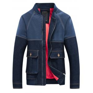 Denim Panel Pockets Stand Collar Zip Up Jacket