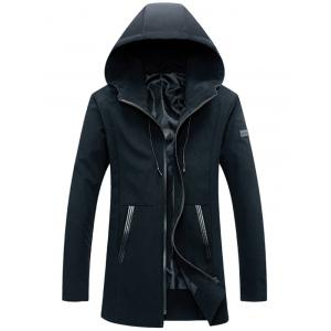 Zip Up PU Insert Printed Hooded Jacket