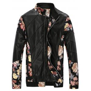 Flower Print Panel Stand Collar PU Leather Jacket