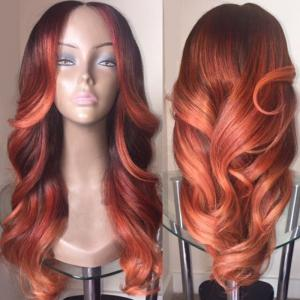 Long Middle Parting Colormix Wavy Synthetic Wig