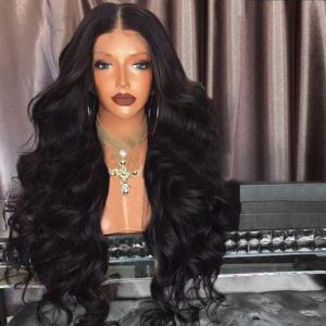 Middle Part Fluffy Long Loose Wave Synthetic Wig - Black - 24inch