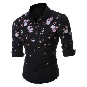 Floral Long Sleeve Shirt - Black - M