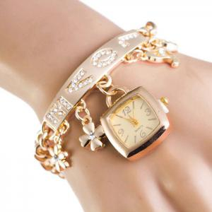 Rhinestone Love Charm ID Bracelet Number Watch - Golden - 37