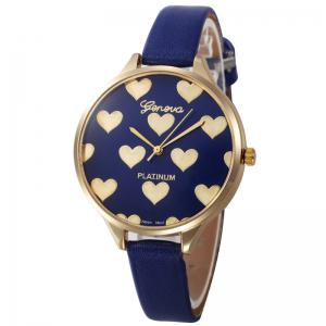 Faux Leather Strap Heart Face Watch - Blue