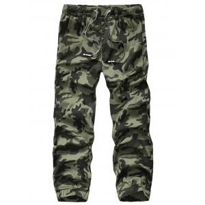 Camouflage Drawstring Beam Feet Jogger Pants - Army Green Camouflage - 32