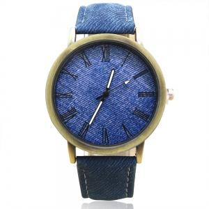 Faux Leather Strap Roman Numeral Analog Watch - Blue