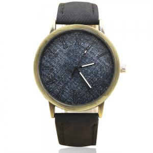 Faux Leather Strap Roman Numeral Analog Watch - Black