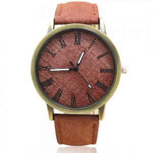 Faux Leather Strap Roman Numeral Analog Watch