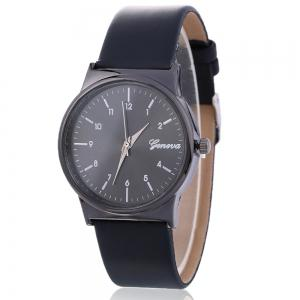 Faux Leather Strap Number Round Shape Watch - Black