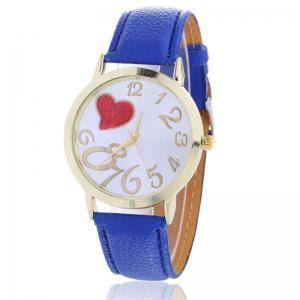 Number Heart Face Faux Leather Strap Watch - Blue