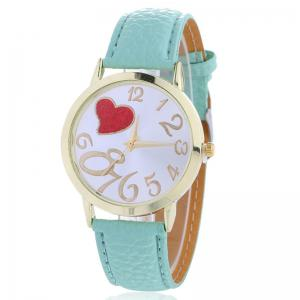 Number Heart Face Faux Leather Strap Watch