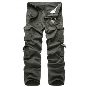 Multi Pockets Zipper Fly Straight Leg Cargo Pants