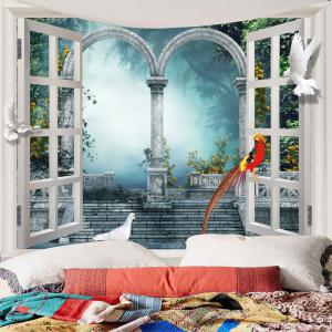 Window Scenery Pigeons Waterproof Wall Tapestry -