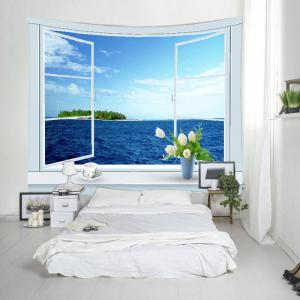Window Ocean Print Tapestry Wall Hanging Art Decoration -