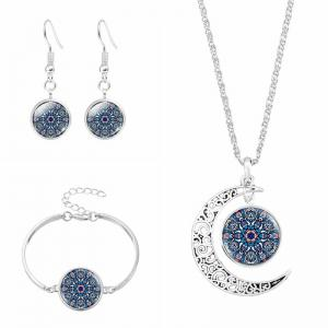 Flower Moon Necklace Bracelet and Earring Set - Purplish Blue