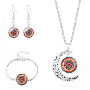 Flower Moon Necklace Bracelet and Earring Set - Orange - S