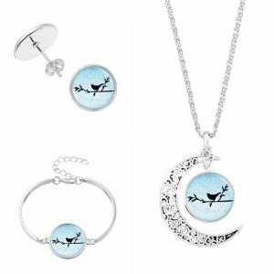Moon Bird Necklace Earring and Bracelet Set