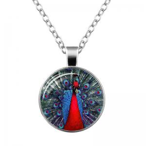 Faux Gem Feather Peacock Pendant Necklace