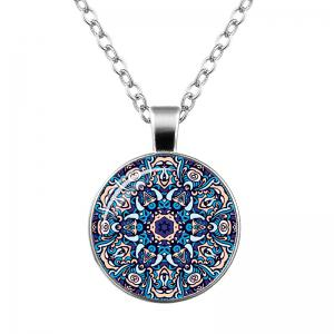 Faux Gem Bohemian Flower Pendant Necklace