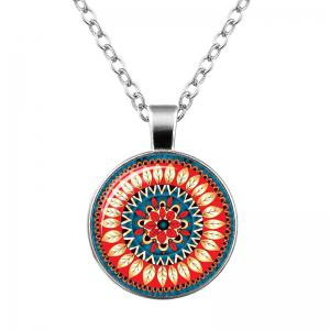 Faux Gem Bohemian Flower Pendant Necklace - Orange - S