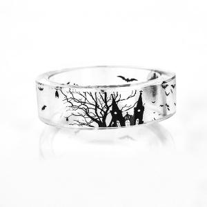 Transparent Halloween Castle Bat Resin Ring