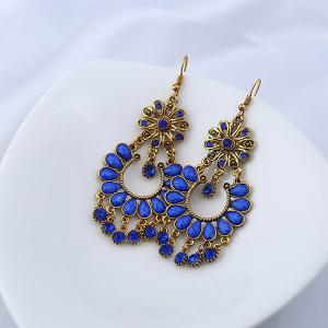 Rhinestone Floral Teardrop Chandelier Earrings