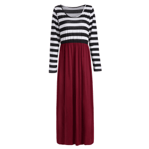 Plus Size Stripe Maxi Dress with Sleeves - BLACK AND WHITE AND RED 3XL