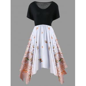Plus Size Butterfly Pattern Handkerchief Dress