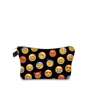 Emoji Print Clutch Makeup Bag - Black
