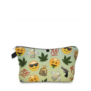 Emoji Print Clutch Makeup Bag - Light Green